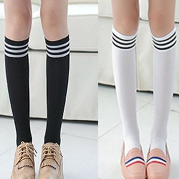 Fashion Girls Women Stripe Solid One Size Thigh High Over Knee High Cotton Socks