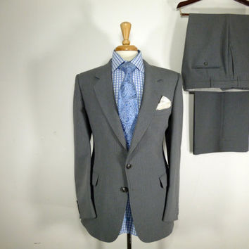 Vintage Mens suit, vintage clothing by Andre Martin for Karoll's Two Piece Two Button Yellow and Blue pinstripped Grey slim fit Suit 40 42