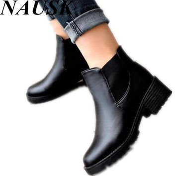 Promotional Winter Autumn Women Boots Platforms Square Heel Ankle Boots Paint Leather
