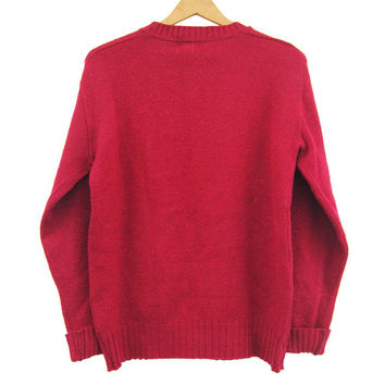 Vintage 60s Burgundy Wool Sweater Marvin Knitting Mills Sportswear NY - Small / Medium