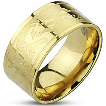 Spikes Mens Stainless Steel Gold IP 10mm Dragon Etched Ring