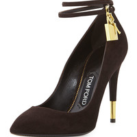 Suede Ankle-Lock Pump, Chocolate - TOM FORD - Chocolate