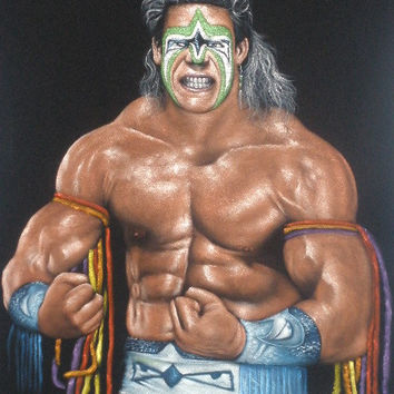 American Wrestler Ultimate Warrior velvet oil painting handpainted signed art