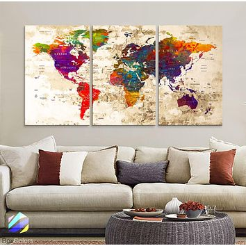 "LARGE 30""x 60"" 3 panels 30x20 Ea Art Canvas Print Watercolor Old Map World Push Pin Travel M1816"