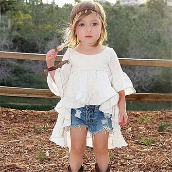 2017 new hot pudcoco Euramerican style Castle Summer half Sleeve Girls pure white Dress Clothes For Kids 2 to 6 years Old Kids