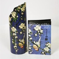 Japanese Bird and Flowers Ceramic Art Vase by Hokusai 7.5H