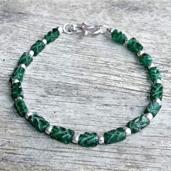 """Hand Carved Aventurine & Silver Filled Beaded Bracelet (XS-S), Gift for Her, Mom Gift, Fits 6"""" -6 3/4"""""""