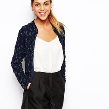 TFNC Jenny Star Embellished Jacket - Navy