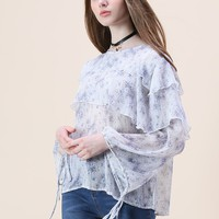 Floret Rain Tiered Chiffon Top