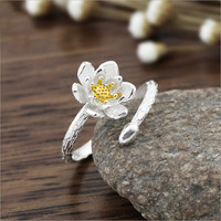 Lotus 925 Sterling Silver Plated Open Design Flower Ring