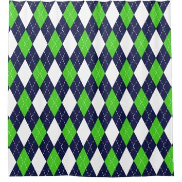 Blue and Green Argyle Pattern Shower Curtain