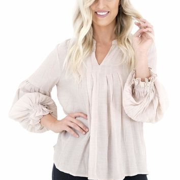 Women's Notched V-Neck Blouse with Balloon Sleeves
