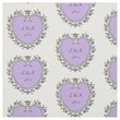 Purple Victorian Heart Personalized Wedding Fabric