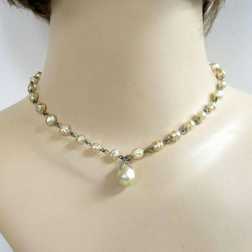 Champagne Glass Baroque Pearls Choker Necklace signed MARVELLA Wedding Bridal Vintage