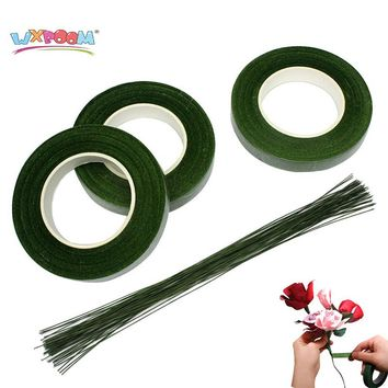 WXBOOM 3 Rolls 90 Foot Green Floral Tape Stem Wrap & 50 Pcs 16 Inch Floral Stem Wire for Wedding, Valentine's Day, Party Decor
