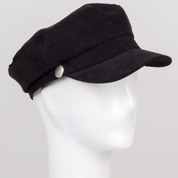 Black Corduroy Cabby Hat