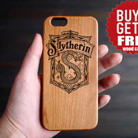 Slytherin Cherry Wood One Piece iPhone 6 6s Case , Custom iPhone 6s 6 Case Wood , Wood Phone Case for iPhone 6 6s  , Valentine's Gift