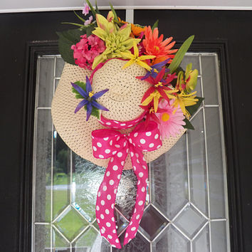 Summer Floral Door Hanger, Wreath, Decoration Ready to Ship