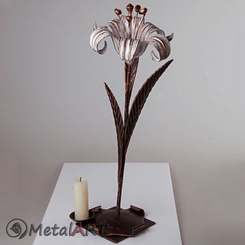 Metal flower sculpture Lily, Jewelry Stand, Steel Anniversary gift/ 11th Anniversary, Iron Anniversary, 6th Anniversary, Metal candle holder