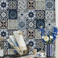 Bohemia Wallpapers Blue Faux Tin Ceiling Tile 3D Wall Paper Roll Metallic Vinyl Tile Effect Retro Pattern Wall Paper for Bedroom
