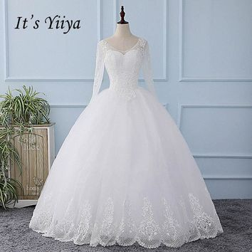 It's YiiYa Long Sleeves Illusion Sexy Wedding Dress Backless Tulla Sequined Bride Wedding Gown Vestidos De Novia Casamento XL602