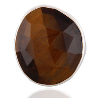 Natural Tiger Eye Faceted Gemstone Solid 925 Sterling Silver Ring Size 7.5 us Je