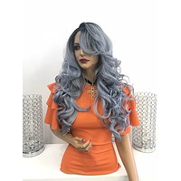 Gray blue ombre' lace front wig - Foundation