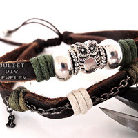 Owl Charm Silver Bead Leather Brace.. on Luulla