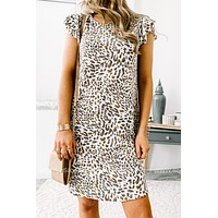 Cheetah Tiered Ruffle Short Sleeve Dress