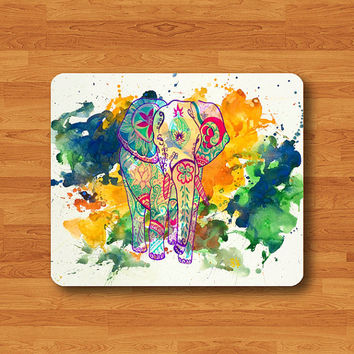 Abstract Messy Watercolor Art Elephant Mouse Pad Colorful Animal Painting Mouse Pad Office Desk Deco IT Personalized Gift Best Friend Gift