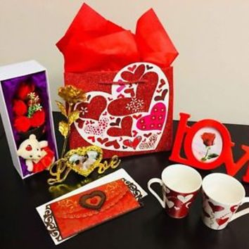 Valentine's Day Gift For Her: Mugs, Fabric Rose, Bear, Love Card, Photo Frame