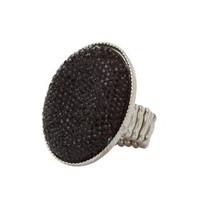Oversized Faceted Stone Cocktail Ring by Charlotte Russe - Silver
