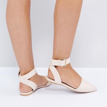 The March Nude Tie Up Point Flat Shoes at asos.com
