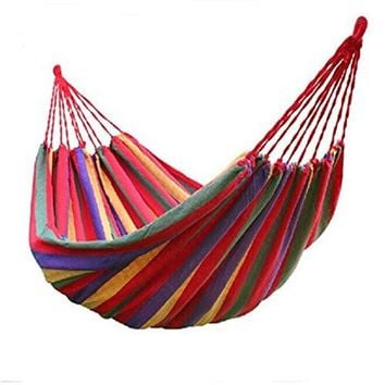 WoneNice Portable Parachute Cotton Fabric Travel Double Camping Hammock (Striped Red)