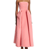 Oscar de la Renta Strapless Pleated-Skirt Midi Gown, Sorbet