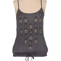 Studded Tie Front Bubble Hem Tank