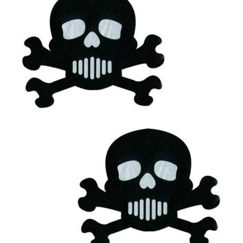 SKULL: BLACK AND WHITE SKULL & CROSSBONES NIPPLE PASTIES