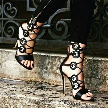 Circle Open Toe Ankle Stiletto High Heel Sandals