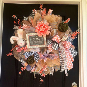 Easter bunny mesh wreath,Spring deco mesh wreath,Bunny wreath,Easter mesh wreath, Front door wreath,gray and peach wreath, spring mesh wreat