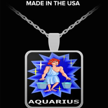 Zodiac Man Aquarius Pendant Necklace