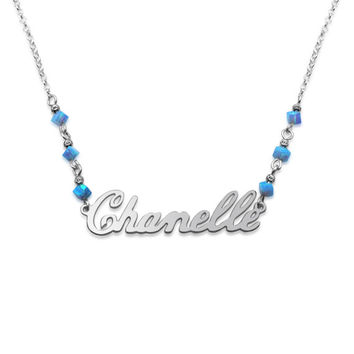 925 Sterling Silver Classic design with Blue Opal Beads Name Necklace