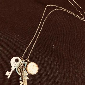 Keys and Clock Charms Long Necklace