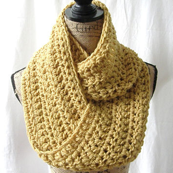 Mustard Gold Yellow Cowl Scarf Fall Winter Women's Accessory Infinity