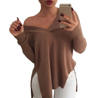 Sweaters Women irregular knitted pullovers split pull v neck long sleeve sweater autumn winter Elastic poncho Jumpers