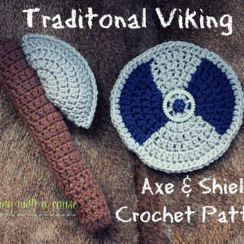 Crochet Shield and Axe Pattern - Traditional Viking - Shield - Axe