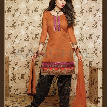 "Orange Chanderi Cotton Readymade Patiala Suit (Ready made Size 38'' & 42"") - Bridal Salwar Kameez - Bridal"