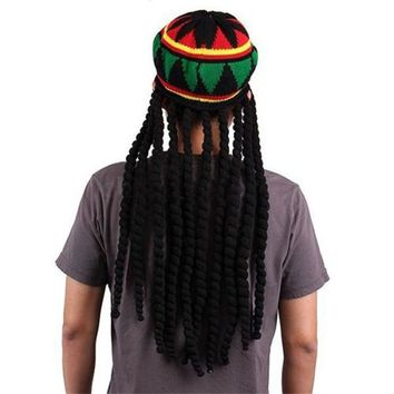 Men Women Jamican Rasta Hat Dreadlocks Wig Bob Marley Caribbean Fancy Dress Prop Unisex Knitted Beanie Hat