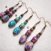 Easter Earrings, Spring Earrings, Bronze Easter Jewelry, Spring Jewelry, Easter Basket Gift, Your Choice of Color