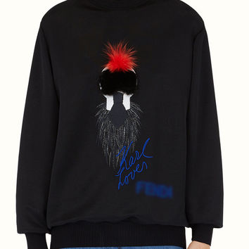Black Fur Patched with Embroidery Detail Sweatshirt