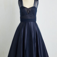 Vintage Inspired Long Sleeveless Fit & Flare When Life Brings Elegance Dress in Dusk by ModCloth